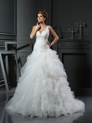 Chicregina Ball Gown V-neck Court Train Organza Wedding Dress with Embroidery Ruffles