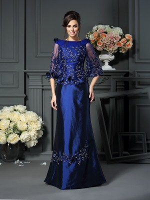 Chicregina A-Line/Princess Scoop Beading 1/2 Sleeves Floor-Length Taffeta Mother Of The Bride Dress with Lace
