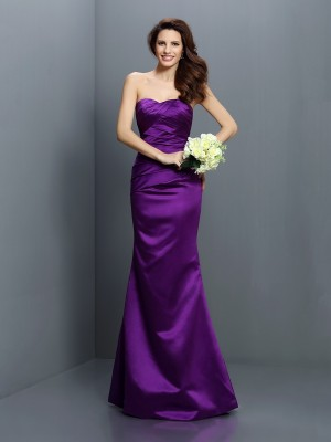 Chicregina Trumpet/Mermaid Strapless Floor-Length Satin Bridesmaid Dress with Sash Pleats