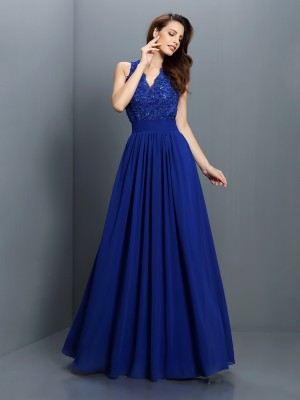 Chicregina A-Line/Princess V-neck Floor-Length Chiffon Bridesmaid Dress with Beading Applique