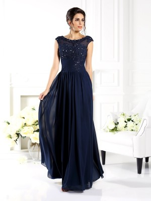 Chicregina Long A-Line/Princess Scoop Beading Chiffon Dress with Beading