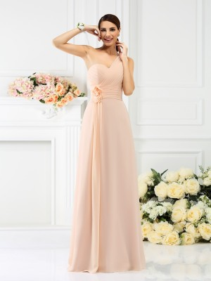 Chicregina Long A-Line/Princess One-Shoulder Chiffon Bridesmaid Dress with Lace Pleats