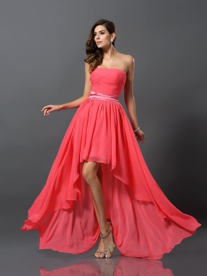 Chicregina A-Line/Princess Sweetheart Chiffon Asymmetrical Bridesmaid Dress with Beading
