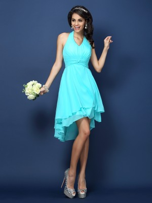 Chicregina A-Line/Princess Halter Chiffon Short Bridesmaid Dress with Rhinestone Pleats