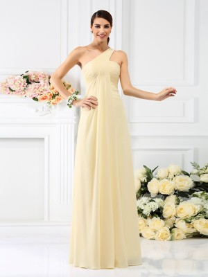 Chicregina A-Line/Princess One-Shoulder Pleats Floor-Length Chiffon Bridesmaid Dress with Beading