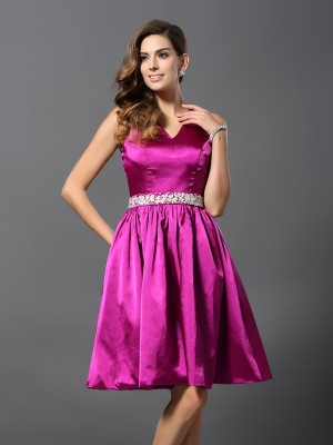 Chicregina A-Line/Princess Straps Elastic Woven Satin Knee-Length Dress with Sash Beading