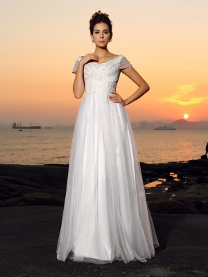Chicregina A-Line/Princess Short Sleeves Off-the-Shoulder Tulle Floor-Length Wedding Dress with Rhinestone