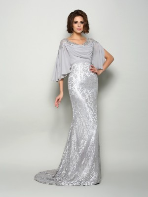 Chicregina Trumpet/Mermaid Scoop 1/2 Sleeves Lace Chiffon Sweep/Brush Train Mother Of The Bride Dress with Sash
