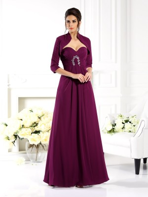 Chicregina A-Line/Princess Sweetheart Floor-Length Chiffon Mother Of The Bride Dress with Ruffles Beading