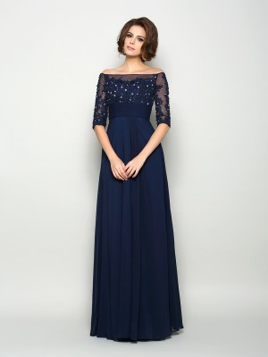 Chicregina A-Line/Princess 1/2 Sleeves Off-the-Shoulder Chiffon Floor-Length Mother Of The Bride Dress with Lace Beading