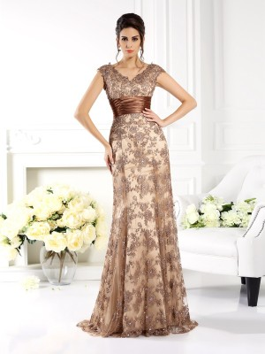 Chicregina A-Line/Princess V-neck Sweep/Brush Train Satin Dress with Embroidery Ruffles