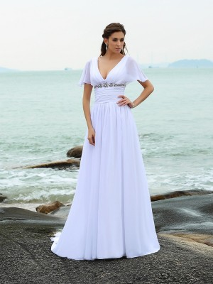 Chicregina A-Line/Princess V-neck Short Sleeves Sweep/Brush Train Chiffon Wedding Dress with Lace Ruffles