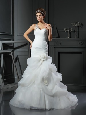 Chicregina Trumpet/Mermaid Satin Chapel Train Wedding Dress with Sash Ruffles