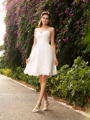 Chicregina A-Line/Princess Knee-Length Spaghetti Straps Lace Wedding Dress with Pleats