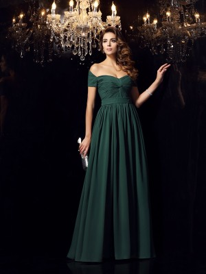Chicregina Long A-Line/Princess Off-the-Shoulder Chiffon Ruched Dress with Pleats