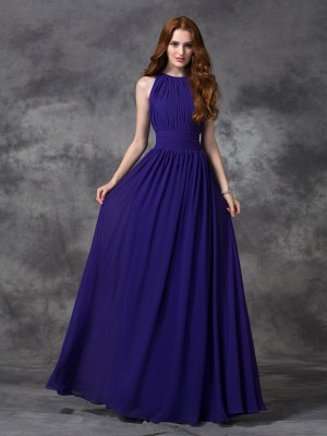 Chicregina A-line/Princess Jewel Floor-length Chiffon Bridesmaid Dress with Ruffles