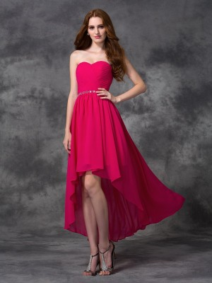 Chicregina A-line/Princess Sweetheart Asymmetrical Chiffon Dress with Applique Beading