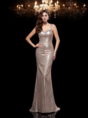 Chicregina Sheath/Column Straps Sequined Sweep/Brush Train Evening Dress with Beading