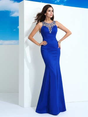 Chicregina Sheath/Column Sheer Neck Chiffon Long Dress with Beading