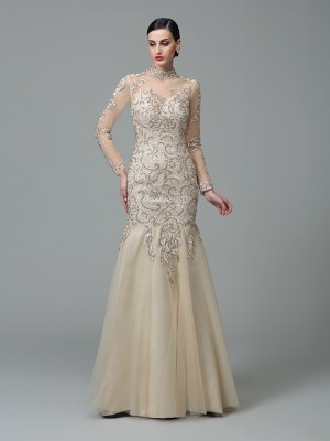 Long Chicregina Sheath/Column High Neck Long Sleeves Net Dress with Pleats Beading