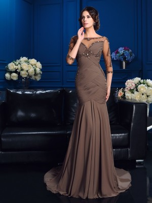 Chicregina Sheath/Column Scoop 3/4 Sleeves Court Train Chiffon Mother Of The Bride Dress with Lace Beading