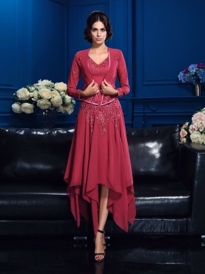 Chicregina A-Line/Princess V-neck Asymmetrical Chiffon Mother Of The Bride Dress with Beading Applique