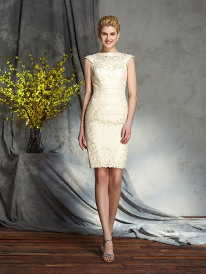 Chicregina Sheath/Column Bateau Short Sleeves Elastic Woven Satin Short Mother of the Bride Dress with Beading