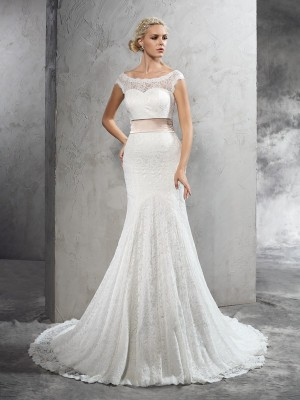 Chicregina Sheath/Column Sheer Neck Belt Court Train Lace Wedding Dress with Sash