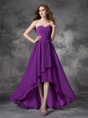 Chicregina A-line/Princess Sweetheart Asymmetrical Chiffon Bridesmaid Dress with Rhinestone Ruffles