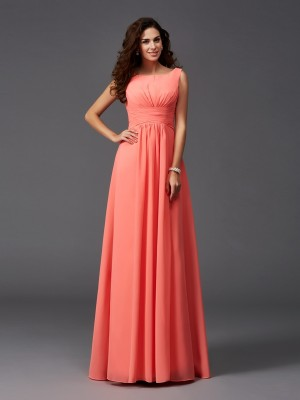 Chicregina A-Line/Princess Scoop Sweep/Brush Train Chiffon Bridesmaid Dress with Lace Ruffles
