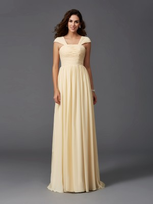 Chicregina A-Line/Princess Straps Sweep/Brush Train Chiffon Bridesmaid Dress with Embroidery Ruffles
