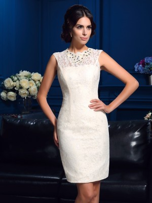 Chicregina Sheath/Column Jewel Mini Lace Mother Of The Bride Dress with Applique