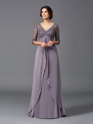 Chicregina A-Line/Princess 3/4 Sleeves V-neck Lace Floor-Length Chiffon Mother of the Bride Dress with Ruched