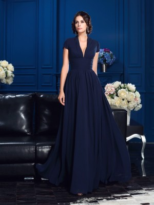 Chicregina A-Line/Princess V-neck Short Sleeves Chiffon Floor-Length Mother Of The Bride Dress with Ruched