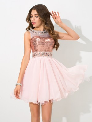 Chicregina A-Line/Princess Sheer Neck Sequin Mini Chiffon Cocktail Dress with Applique