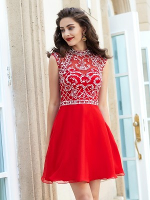 Chicregina A-Line/Princess High Neck Sleeveless Short Chiffon Dress with Beading