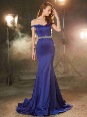 Chicregina Trumpet/Mermaid Off-the-Shoulder Sleeveless Sweep/Brush Train Satin Dress With Crystal