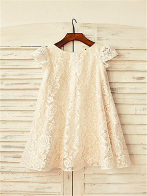Chicregina A-Line/Princess Scoop Short Sleeves Tea-Length Flower Girl Dress with Lace