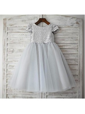 Chicregina Long A-Line/Princess Scoop Short Sleeves Sequin Flower Girl Dress with Tulle