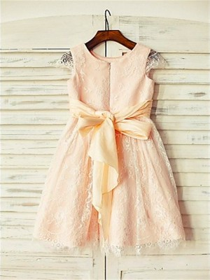 Chicregina Long A-Line/Princess Scoop Short Sleeves Sash Flower Girl Dress with Lace