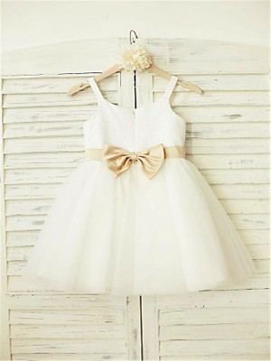 Chicregina Long A-Line/Princess Spaghetti Straps Sleeveless Bowknot Flower Girl Dress with Tulle
