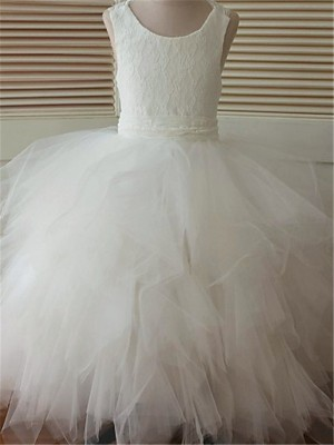 Chicregina Long Ball Gown Scoop Sleeveless Organza Flower Girl Dress with Lace