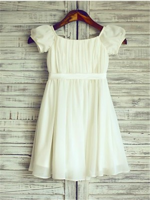 Chicregina A-Line/Princess Square Short Sleeves Tea-Length Chiffon Dress with Ruched