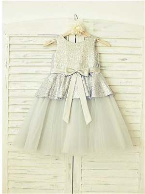 Chicregina Long A-Line/Princess Sleeveless Scoop Sequin Flower Girl Dress with Tulle