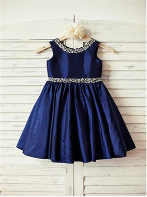 Chicregina A-Line/Princess Scoop Sleeveless Rhinestone Tea-Length Taffeta Communion Dress