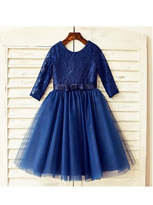 Chicregina A-Line/Princess Scoop Long Sleeves Lace Tea-Length Flower Girl Dress with Tulle