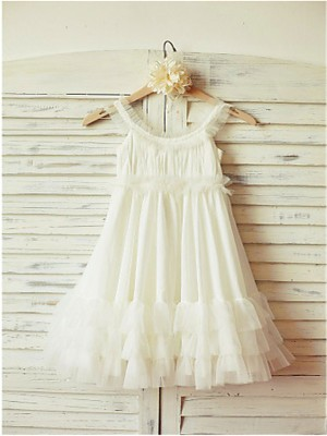 Chicregina Long A-Line/Princess Straps Sleeveless Chiffon Flower Girl Dress with Ruffles
