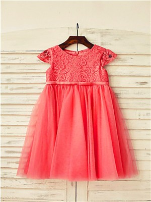 Chicregina A-Line/Princess Scoop Short Sleeves Lace Tea-Length Flower Girl Dress with Tulle