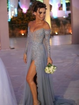 A-Line/Princess Off-the-Shoulder Long Sleeves Tulle Sweep/Brush Train Dresses With Applique