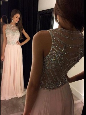 Chic Regina A-Line/Princess Scoop Sleeveless Crystal Chiffon Floor-Length Dresses